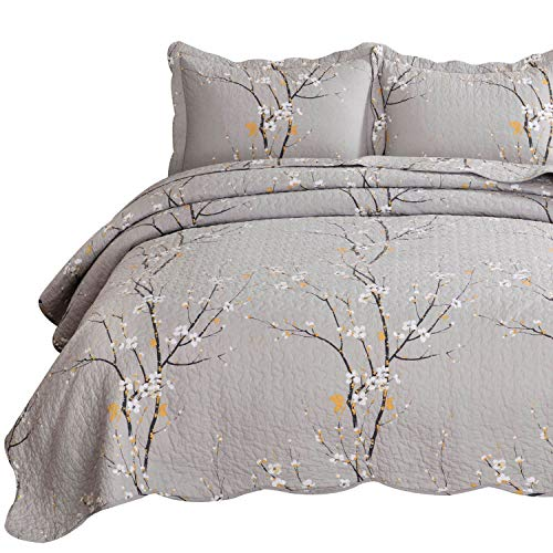 Bedsure 100% Cotton Printed Full/Queen Quilt Set – Spring Blossom Floral Pattern, Pre-Washed, 3-Piece Quilt with 2 Shams – All-Season Bed Cover Machine Washable Bedspread Coverlet, Oyster Grey