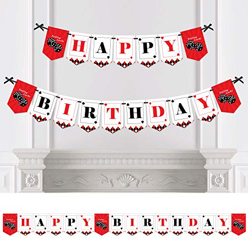 Big Dot of Happiness Las Vegas - Casino Birthday Party Bunting Banner - Birthday Party Decorations - Happy Birthday ()