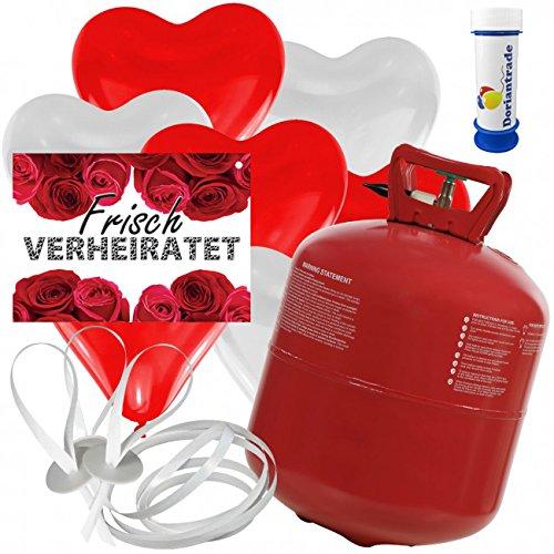 50 Herz Luftballons freie Farbwahl mit Helium Ballon Gas + 50 Weitflugkarten Frisch Verheiratet Rosen + Gratis Doriantrade Seifenblasen 60 ml Hochzeit Valentinstag Komplettset (Rot/Weiß)