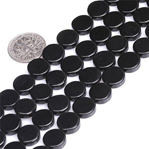 JOE FOREMAN 10mm Stripe Black Agate Semi Precious Gemstone Coin Loose Beads for Jewelry Making DIY Handmade Craft Supplies 15