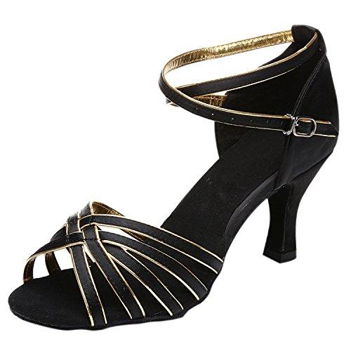 Azbro Mujer Zapato Baile Latín Correa Cruzada Puntera Abierta Negro&Dorado