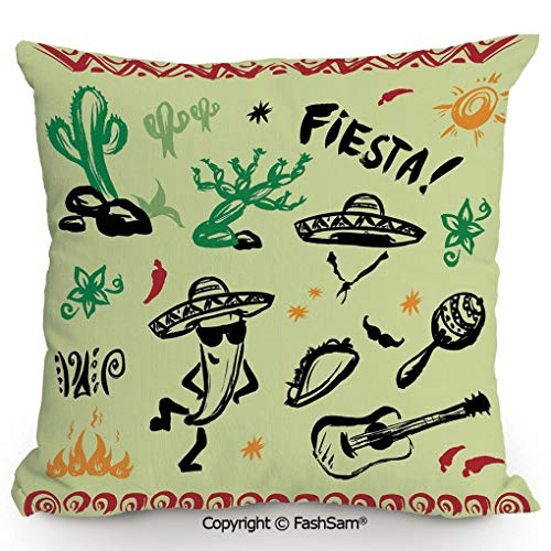 (Decorative Throw Pillow Cover Popular Hispanic Objects with Fiesta Taco Guitar Cactus Plant Nachos Print for Pillow Cover for Living Room(24