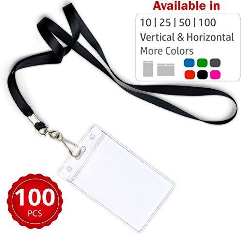 Durably Woven Lanyards & Vertical ID Badge Holders ~Premium Quality, Waterproof & Dustproof ~ for Moms, Teachers, Tours, Events, Businesses, Cruises & More (100 Pack, Black) by Stationery King]()