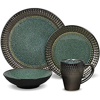 Gourmet Basics Ontario 16 Piece Dinnerware Service for 4  sc 1 st  Amazon.com & Amazon.com | Gourmet Basics by Mikasa Linden 16-Piece Dinnerware Set ...