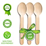 "Disposable Wooden Spoons | Pack of 100 Pcs - 6.5"" Wooden Spoons