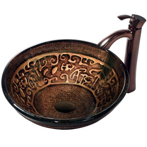 Raised Vessel Faucet - VIGO Golden Greek Glass Vessel Bathroom Sink and Otis Vessel Faucet with Pop Up, Oil Rubbed Bronze