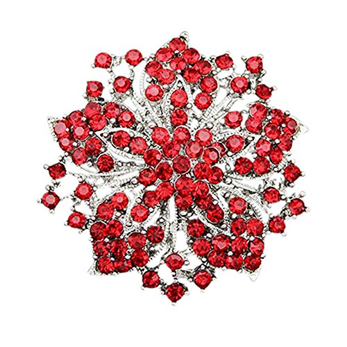 dds5391 Cluster Rhinestones Round Blossom Flower Crystal Silver Plated Brooches Pin - Red