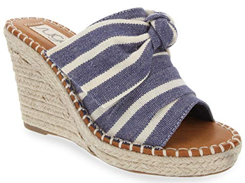 Sugar Women's Hundreds Espadrille Wedge Sandals with Knotty Bow Detail 10 Navy Stripe ()