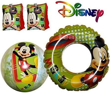 Disney – de Mickey ratón brazo bandas, natación Anillo y pelota de playa flotador: Amazon.es: Hogar