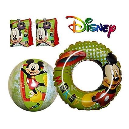 Disney – de Mickey ratón brazo bandas, natación Anillo y pelota de playa flotador