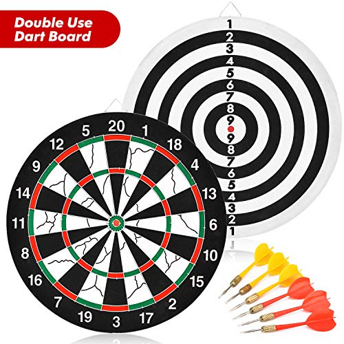 BATTOP Double-Sided Kids Dart Board Set Great Game for Boys Toy Gift and Adults Family Time Leisure Sport