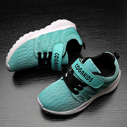 DADAWEN Boy's Girl's Breathable Strap Casual Tennis Athletic Sneakers Running Shoes Light Green US Size 6 M Big Kid by DADAWEN (Image #3)