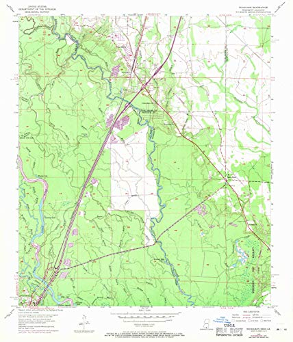 YellowMaps Nicholson MS topo map, 1:24000 Scale, 7.5 X 7.5 Minute, Historical, 1955, Updated 1971, 26.8 x 22.9 in - Tyvek ()