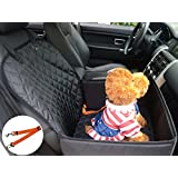 Dog Car Pet Cover for Small & Medium Dogs FLR 1 Pcs 2-in-1 Front Waterproof Washable Pet Dog Mat Booster Seat Cover Car Pet Seat Protector Cover with 1 Pcs Pet Seat Belt Safety for Dogs SUV Cars Trucks