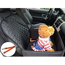 Pet Dog Seat Cover for Small & Medium Dogs FLR 1 Pcs 2-in-1 Front Waterproof Washable Car Pet Dog Mat Booster Seat Cover Car Pet Dog Protector Cover with 1 Pcs Orange Pet Seat Belt for Dogs SUV Cars Trucks