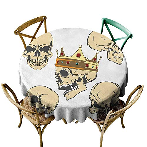 Wendell Joshua White Tablecloth 50 inch Skull,Skulls Different Expressions Evil Face Crowned Death Monster Halloween Print,Sand Brown Yellow 100% Polyester Spillproof Tablecloths for Round Tables -