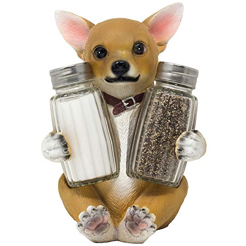 (Cute Chihuahua Puppy Dog Glass Salt and Pepper Shaker Set with Decorative Display Stand Holder Figurine for Spice Rack Decorations & Kitchen Table Décor Centerpieces As Pet Gifts for Dog Lovers)