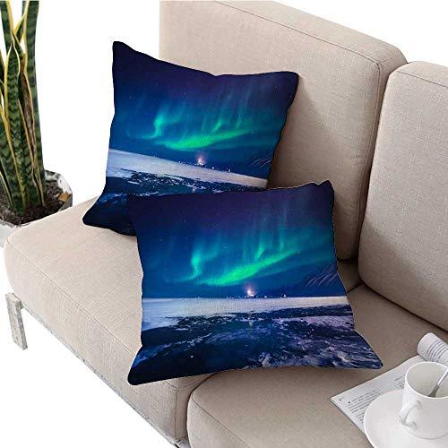 IKEA Pillow Covers Polar Northern Lights in The Mountains of Svalbard Longyearbyen Spitsbergen Norway Wallpaper Square Cushion Case W 16