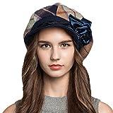 Maitose&Trade; Women's Scottish Plaid Wool Peaked Cap Beret Blue
