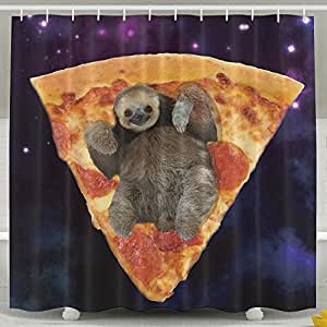 Amazon.com: Galaxy Space Sloth Pizza Shower Curtain ...