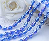 new 100pcs 10x15mm Medium blue AB Teardrop Shape Tear Drop Glass Faceted Loose Crystal Beads