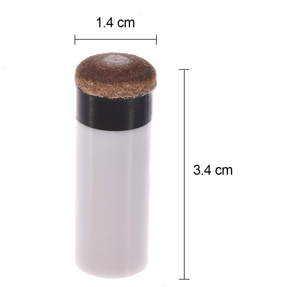austauschbare Spitze zum Schrauben Feeko Billardqueue-Spitzen Ersatz-Spiralspitzen und Harte Queue-Ferrulen Braun 12 mm 10 Sets