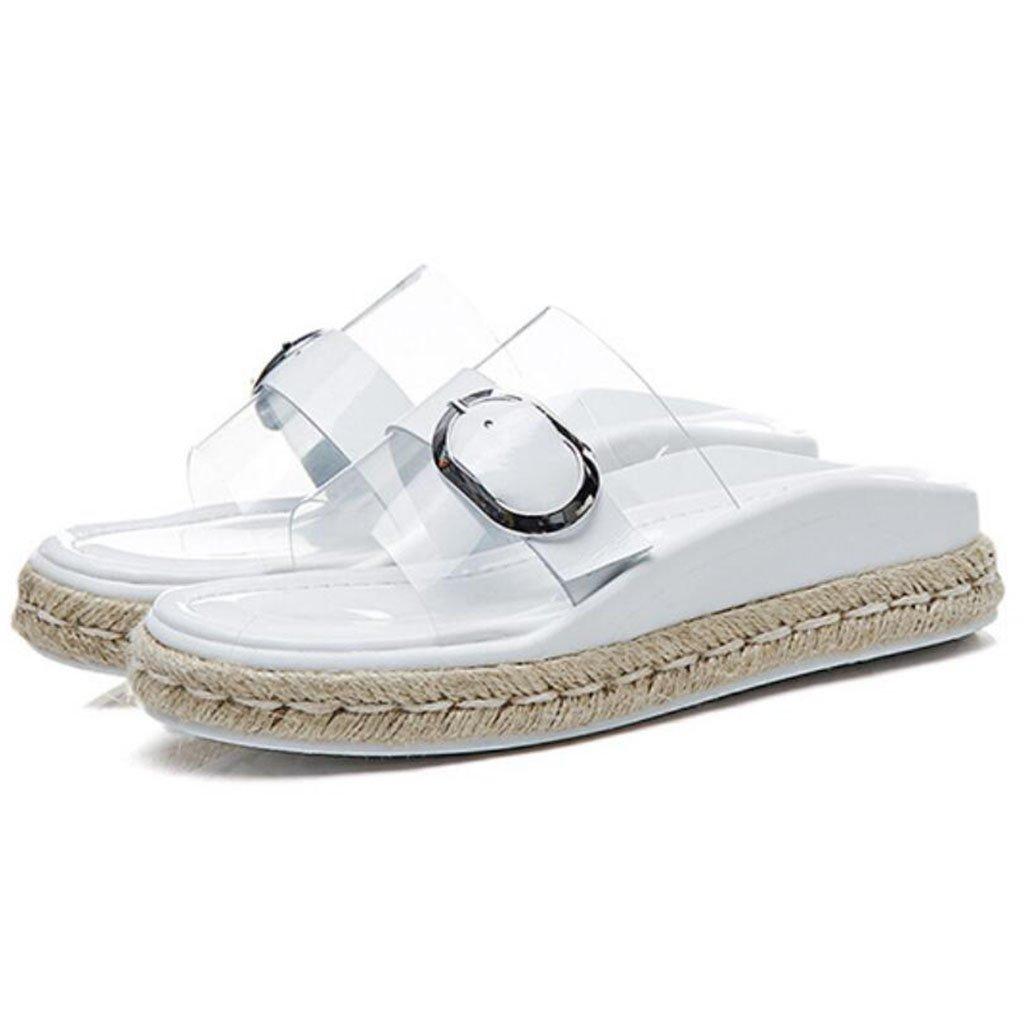 GAOLIXIA Frauen Open Toe Transparente Sandalen Sommer Metall Schnalle Hausschuhe Shiny Stroh Freizeitschuhe Outdoor Beach Schuhe