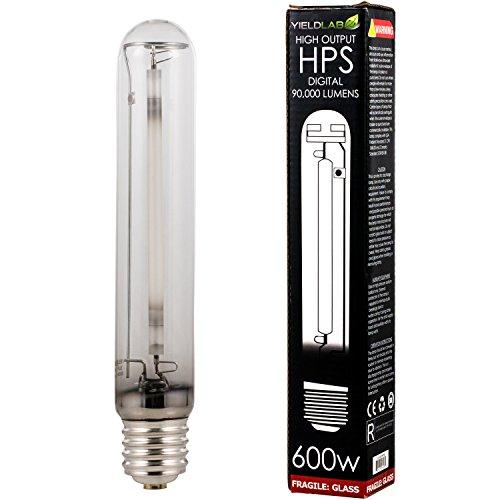 Yield Lab 600w High Pressure Sodium (HPS) Digital HID Grow Light Bulb (2100K) – 1 Bulb – Hydroponic, Aeroponic, Horticulture Growing (Standard Hps Lamps)