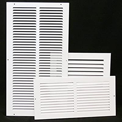 "10"" X 10 Steel Return Air Filter Grille for 1"" Filter - Removable Face/Door - HVAC DUCT COVER - Flat Stamped Face - White [Outer Dimensions: 12.5""w X 12.5""h]"