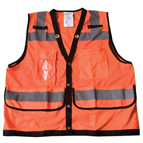 Ironwear 1279-OS-CID-6-3XL ANSI Class 2 Polyester SAFETY Vest with Snaps, Clear ID Holder, 2