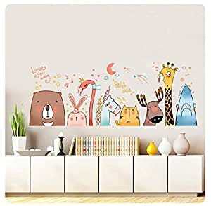 animal Cartoon Kindergarten Removable Wall SticKers For Kids Rooms Home Decor DIY Wallpaper art Decals House Decoration
