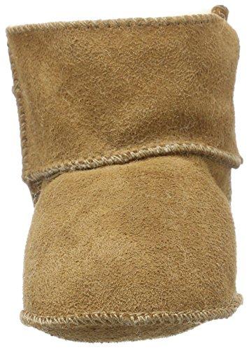 Beige Baby Mit Klettverschluss Melton camel Unisex Krabbelschuhe Lammswollschühchen