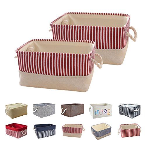 Queenie 2 Pack Collapsible Fabric Storage Basket Home Organizer Available in Different Colors and sizes (Solid Ivory & Red Stripe, 30 x 20 x 13 cm (11.75 x 8 x 5 Inch))
