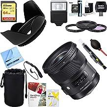 Sigma 24mm f/1.4 DG HSM Wide Angle Lens (Art) for Canon DSLR Camera Mount (401-101) + 64GB Ultimate Filter & Flash Photography Bundle