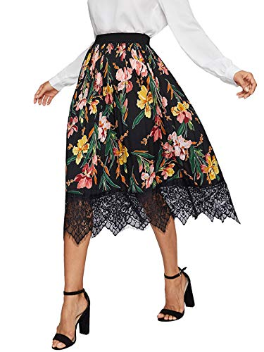 WDIRARA Women's Floral Elastic Waist Contrast Lace Hem Midi A-Line Pleated Skirt Black - Skirt Embroidered Pleated Hem