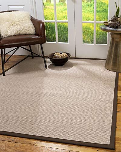 NaturalAreaRugs 100%, Natural Fiber Handmade Blair, Beige Rose Sisal Rug 8' x 10' Oval Fudge Border