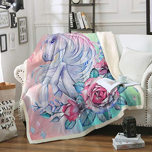 Sleepwish Unicorn Rose Print Super Soft Throw Blanket Pink Blue Magical Horse Blanket Girls Fantasy Fleece Blankets (50 x 60)