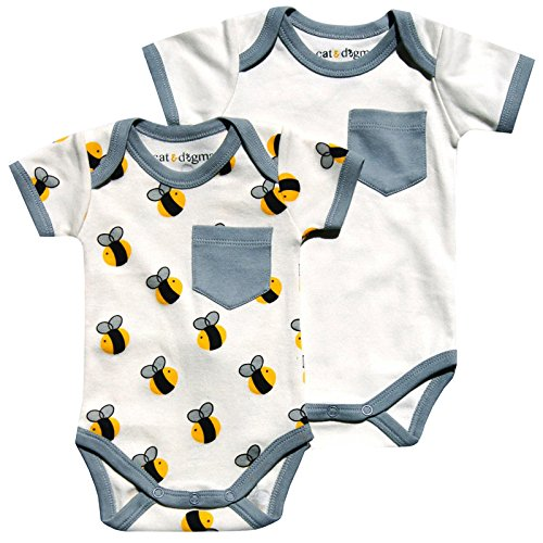 Cat & Dogma - Certified Organic Infant/Baby Clothing Bee/Gray Bodysuit Pack (6-12 - Dallas Store Polo