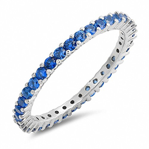Full Eternity Stackable Wedding Band Ring Simulated Blue Sapphire 925 Sterling Silver,Size-9