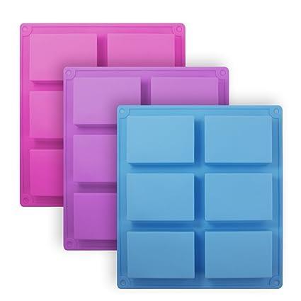 Senhai Moldes de jabón de silicona rectángulo de 3 piezas, Molde de pan de pastel