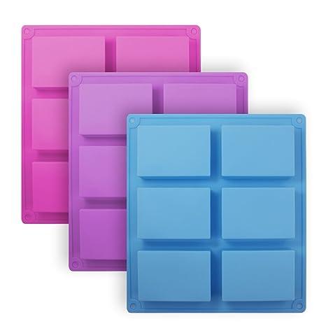 Senhai Moldes de jabón de silicona rectángulo de 3 piezas, Molde de pan de pastel de ...