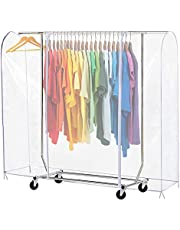"""71"""" LClear Transparent Clothing Rack Cover Dustproof Garment Shoulder Rack Covers Home Bedroom Clothing Dustproof Waterproof Protector with Durable Zipper and Roomy Pocket (L:71x20x52 inch)"""