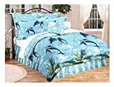 DOLPHINS Water Dance Coastal Under the Sea Life 6pc TWIN SIZE Blue COMFORTER (66'' x86''), SHAM, BEDSKIRT & Sheet Set