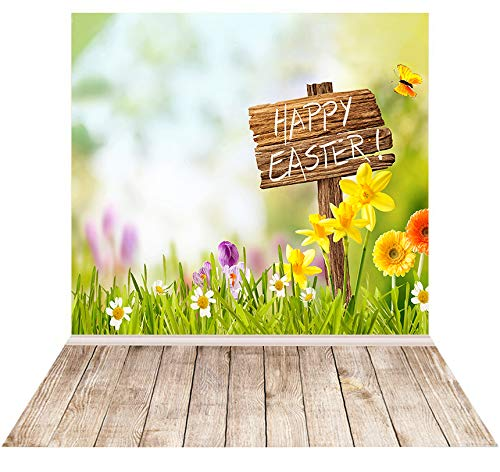 Happy Easter Photography Backdrop Spring Natural Landscape Background for Party Decorations Easter Green Grass Flowers Butterfly Brown Wood Floor Photo Banner 5x7ft -