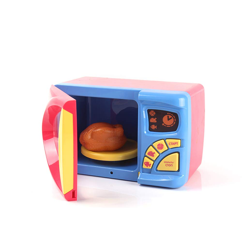 MeeYum Kids Pretend Play Electronic Toy Kitchen Microwave Oven with Realistic Lights and Sound, Includes Pretend Food