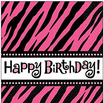 Pink//Black 5x5 Paper Pack of 16 Another Year of Fabulous Adult Birthday Party Zebra Print Beverage Napkins Tableware