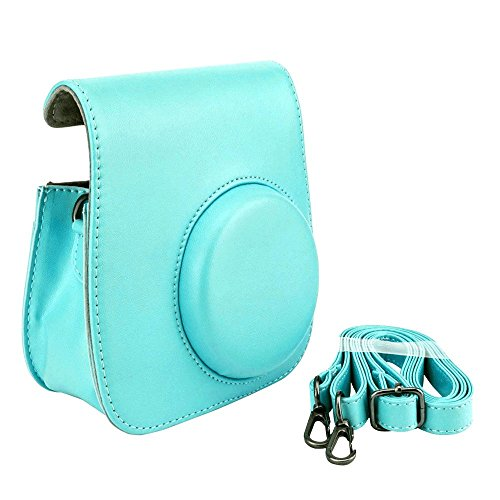 Groovy Case for Fuji Instax Mini Camera + Detachable Leather Shoulder Strap – Snap Closure – Top Item! (Ice Blue)