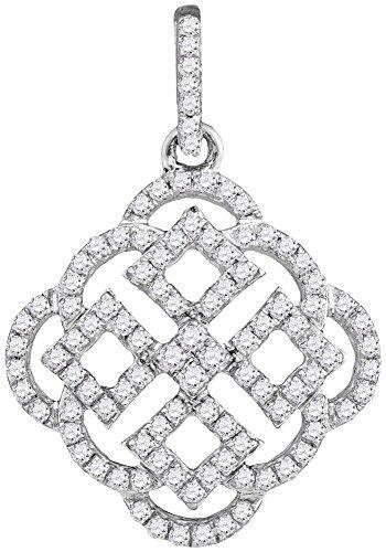 Jewel Tie 10k White Gold Diamond Prong Set Box Side square Pendant (1/2 cttw.)