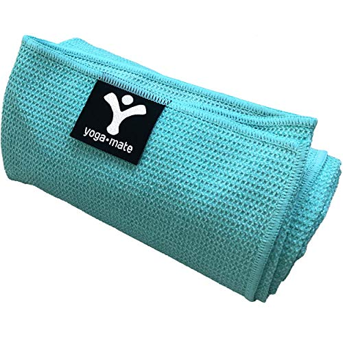 Yoga Mate Sticky Grip Yoga Towel The Best Non-Slip Towel for Hot Yoga - Anti-Slipping, Sweat Absorbent Microfiber Towels with Silicone Grip Bottom - Perfectly Fits Standard & XL Sized Mats ()