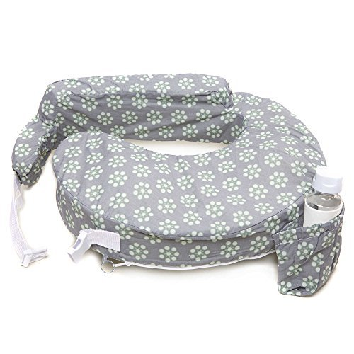 My Brest Friend Original Nursing Pillow in Grey with Sage Dotted Daisies (Standard)